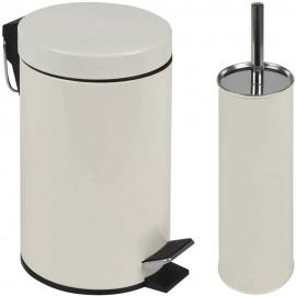 Lixeira Agata 3L Com Pedal E Escova Sanitária Bege- MOR