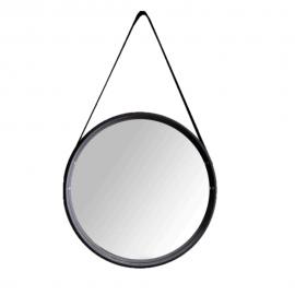 Espelho Redondo Com Alça 45CM Em MDF Preto-DELLA HOME
