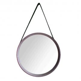 Espelho Redondo Com Alça 45CM Em MDF Marrom-DELLA HOME