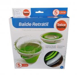 Balde Retrátil Silicone 5L Verde-DOLCE HOME