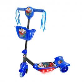 Patinete 3 Rodas Cesta e Luz Corrida Divertida Azul-DM TOYS