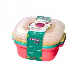 Conjunto 3 Potes De Plástico Coloridos 1,3L- SANREMO