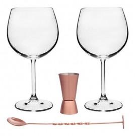 Kit 4 Pçs Para Gin Taça Dosador Rose E Colher Authentic- BOHEMIA