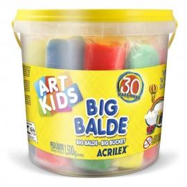 Balde Com 30 Massinhas Soft 1,5Kg- ACRILEX