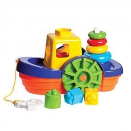 Barco Didático Com Blocos E Ancora Brinquedo Educativo- MERCOTOYS