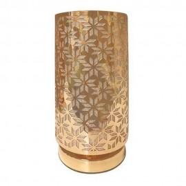 Abajur Decorado Tubo De Metal Dourado Bivolt- ALFACELL
