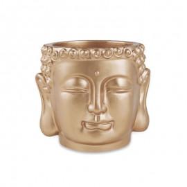 Cachepot Buda Em Cimento Dourado P- MART