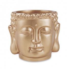 Cachepot Buda Em Cimento Dourado M- MART