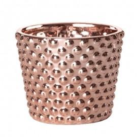 Cachepot Poá Em Cerâmica Rose Gold-  MART