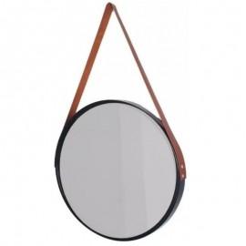 Espelho Decorativo  Preto Com Moldura Marrom- FWB