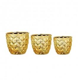Kit Cachepot Cerâmica 3 Peças Dourado- MART