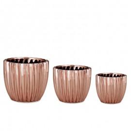 Kit Cachepot Cerâmica 3 Peças Rose Gold- MART