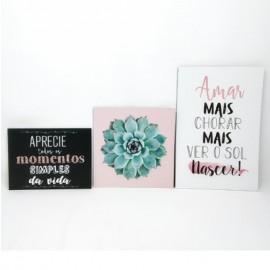 """Kit 3 Quadros Decorativos de Madeira - """"Aprecie todos os Momentos Simples da Vida"""""""
