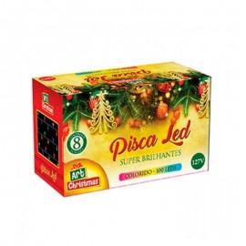 Pisca Super Brilhante Com 100 Leds Colorido-ART CHRISTMAS