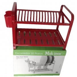 Escorredor De Louça Em Aço Inox Epóxi 16 Pratos Vermelho- MAK-INOX