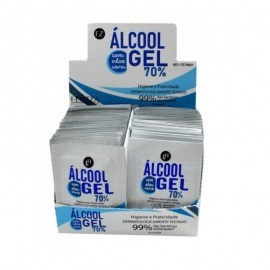 100 Saches Álcool Gel 70 Porcento Higienizador Para As Mãos- FENZZA