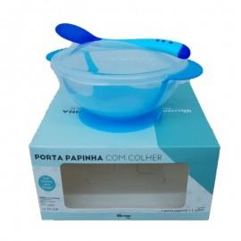 Porta Papinha Com Colher Azul- WESTERN