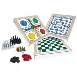 Jogo Tabuleiro 4 jogos em 1 Xadrez Damas Trilha e Ludo- JUNGES