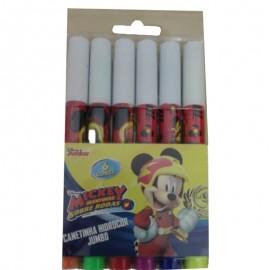 Canetinhas Hidrocor Jumbo 6 Cores Sortidas Mickey- ETILUX