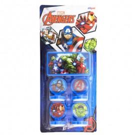 Kit 4 Carimbos + Estojo De Tinta Avengers- ETILUX