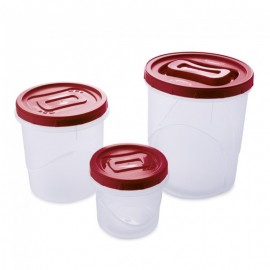 Conjunto 3 Potes Rosca Clic A3 Transparente E Vermelho- PLASUTIL