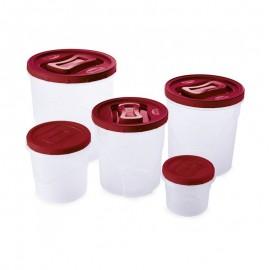 Conjunto 5 Potes Rosca Grande Clic A3 Transparente E Vermelho- PLASUTIL