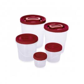 Conjunto 5 Potes Rosca Médio Clic A3 Transparente E Vermelho- PLASUTIL