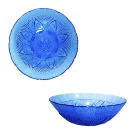 Tigela Redonda Coração De Vidro Azul- 123 ÚTIL