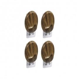 4 Gancho Oval Tipo Madeira Com Adesivo- ORDENE